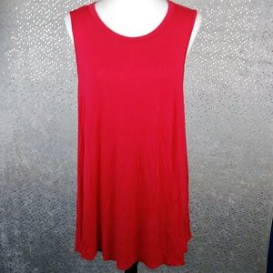 Acemi Red Swing Asymmetrical Hem Stretch Tunic